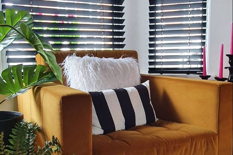 Black Wooden blinds styled in living space