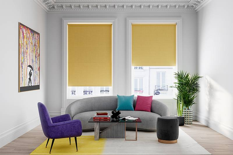 Bright living room with blackout yellow roller blinds