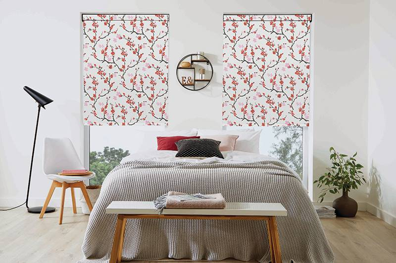 Cherry Blossom Roller blinds in big bedroom windows