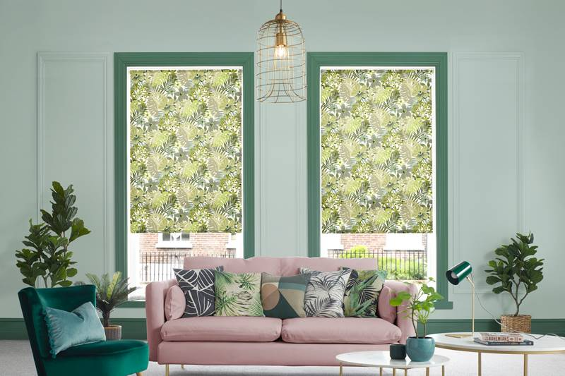 Lush Jungle Green roller blind in a big living room window