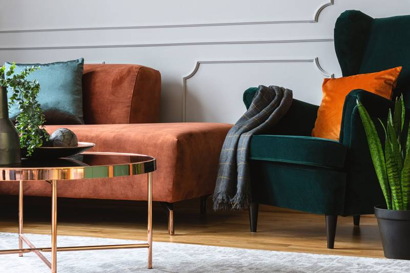 Velvet sofa and a chair with brass coffee table and house plants.