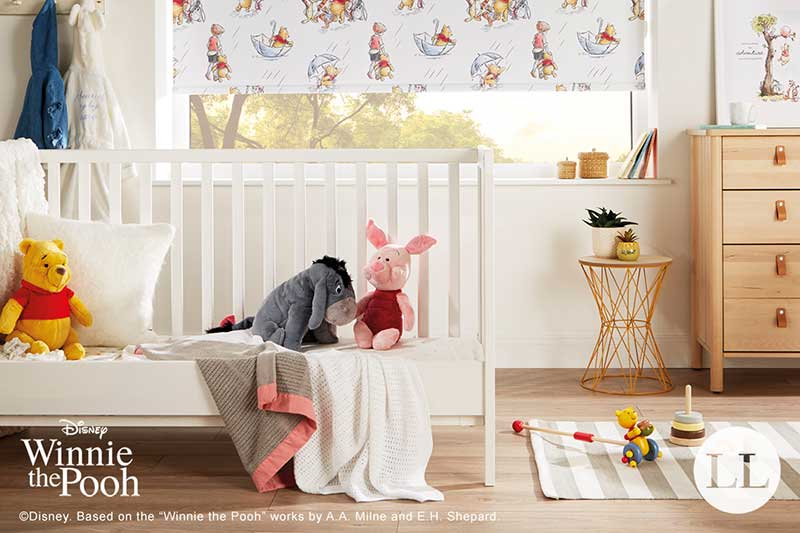 Winnie the Pooh and friends Blackout Roller Blind in a Disney Bedroom
