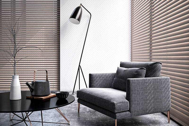 Real wood venetian blind in a big living room window