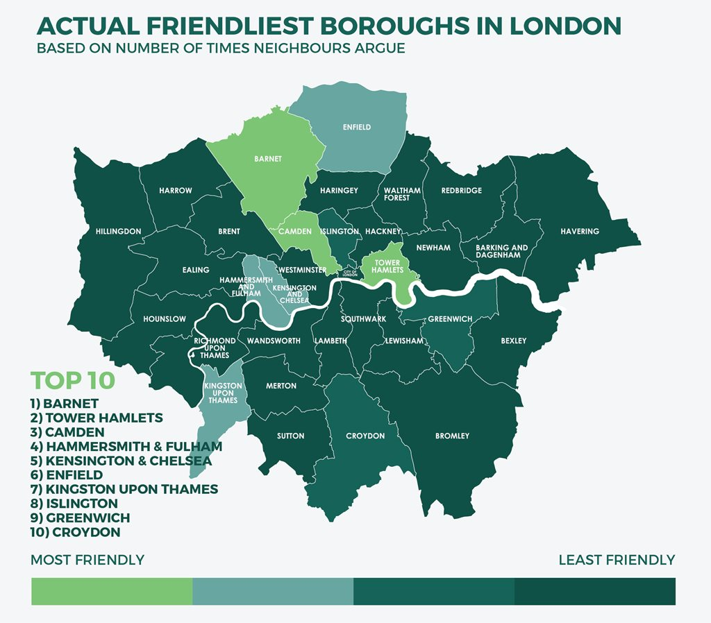 Friendliest Boroughs in London