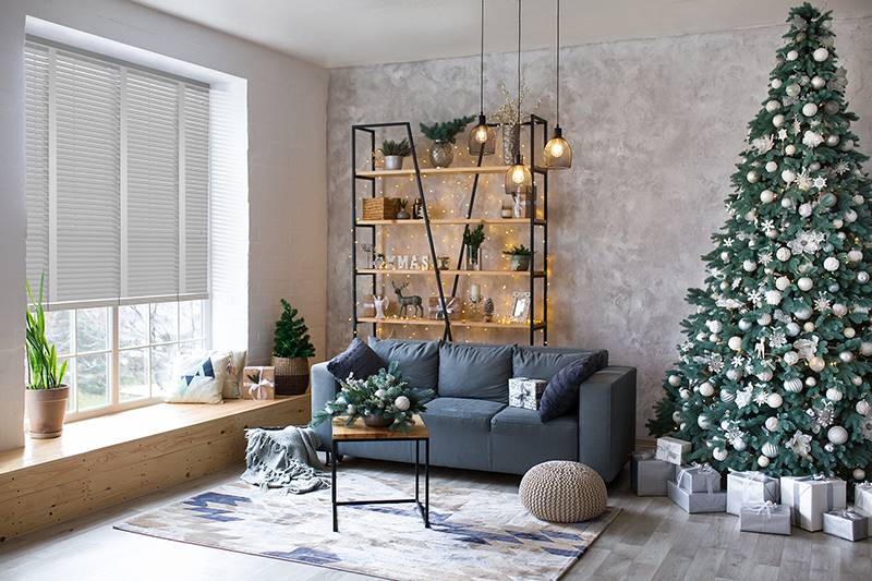 Hygge Interior Living Room with Taped Grey Faux Wood Blinds