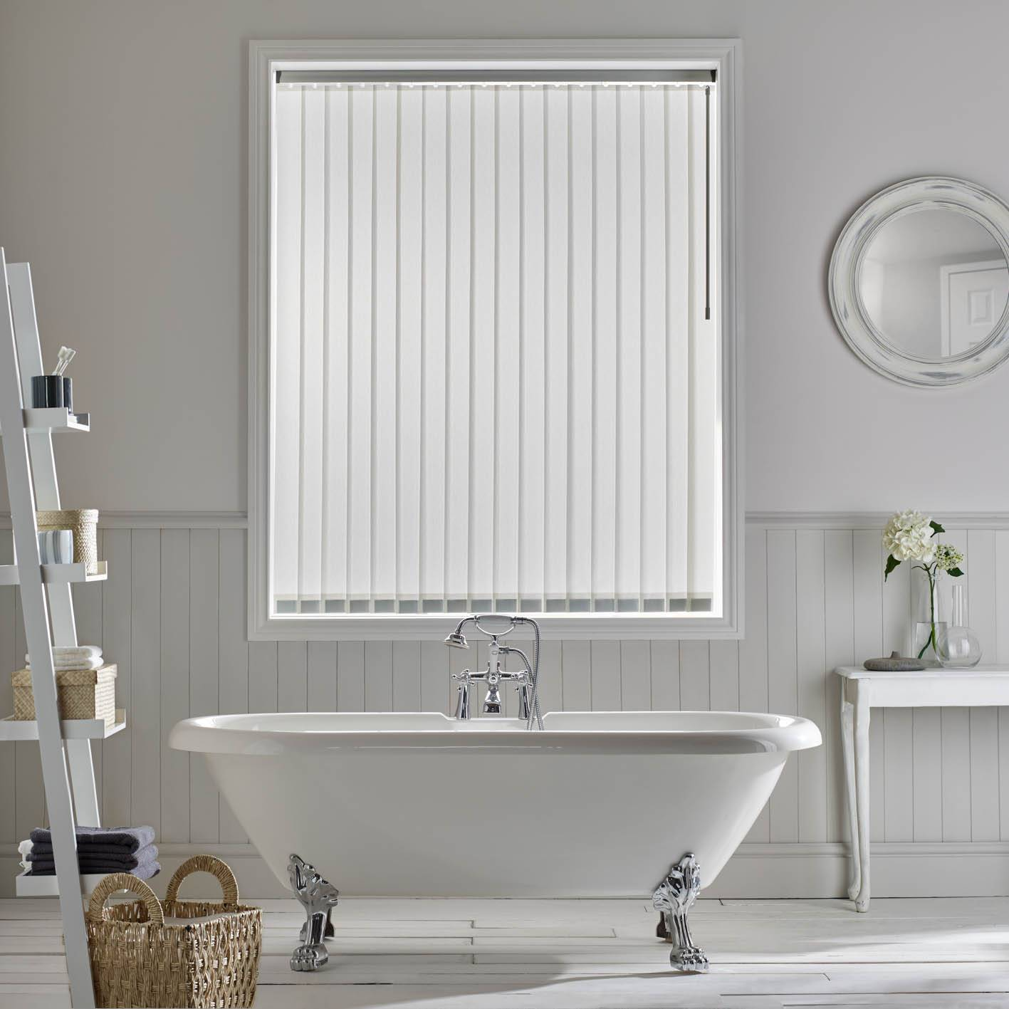 White vertical blind in a bathroom window