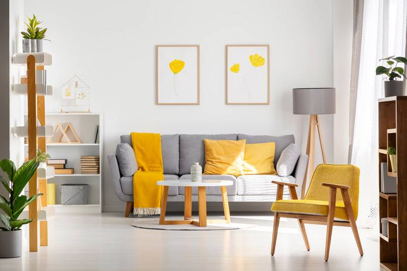 Living room with a grey sofa, plants and yellow pillows, a throw and a chair