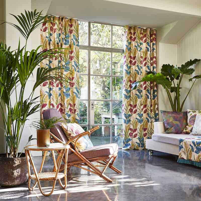 Colourful floral Curtain in a Living Room