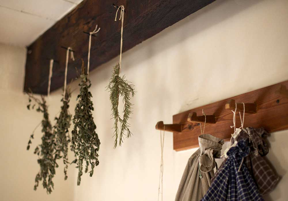 Vintage kitchen drying herbs