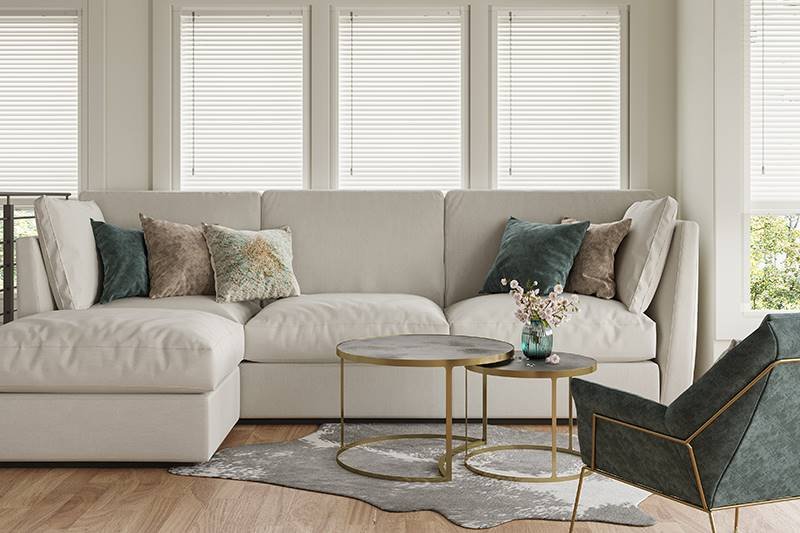 White real wood perfect fit blinds in living room windows