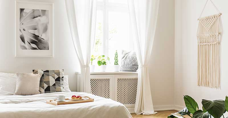 white curtain in bedroom