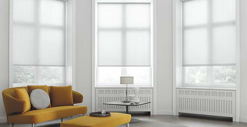 white electric roller blind in living room