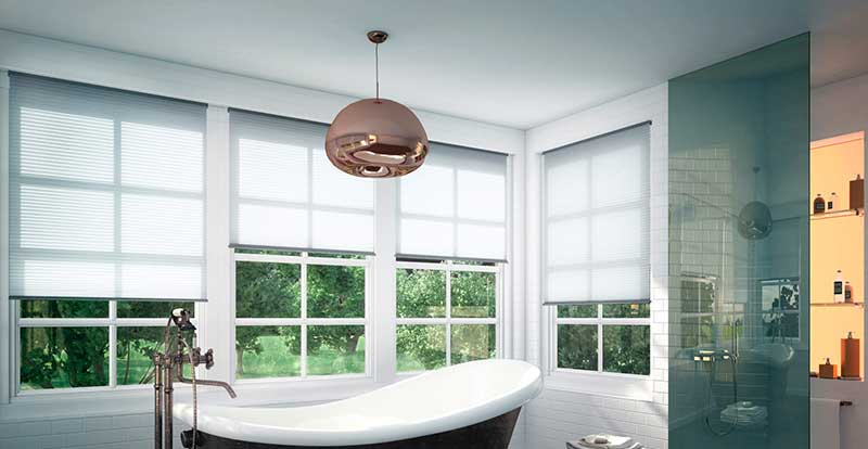 white free hanging pleated blinds in bathroom