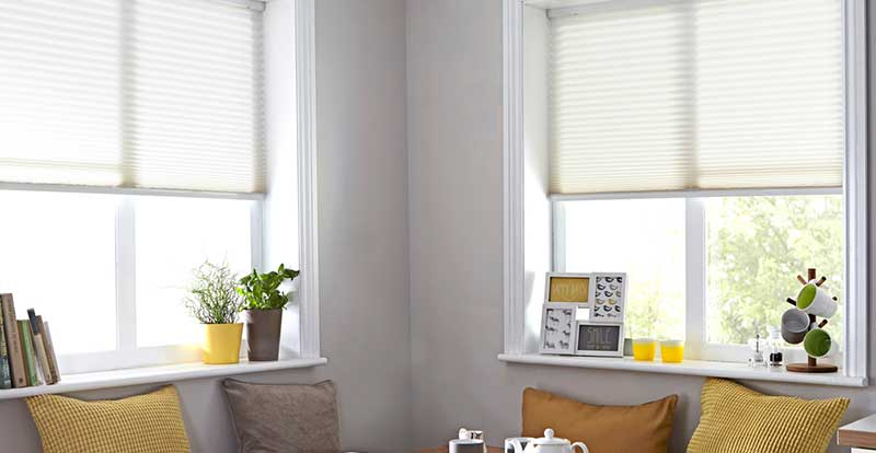 white neat fit blinds in living room