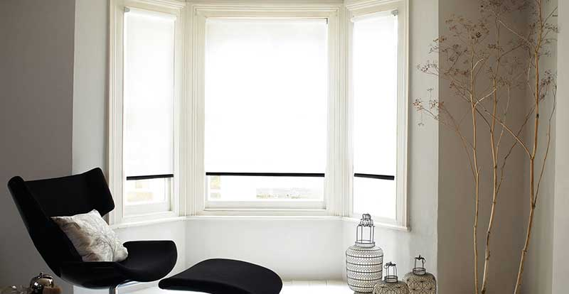 white roller blind in living room