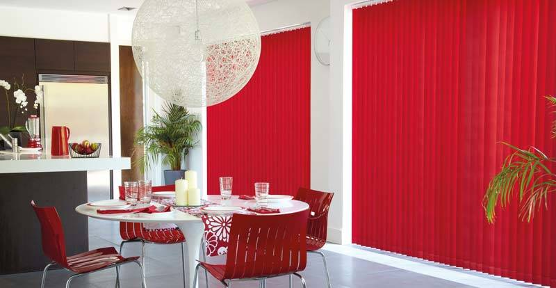 blackout red vertical blinds in kitchen
