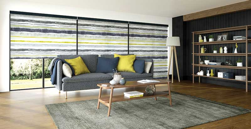 multicoloured electric roller blinds in living room