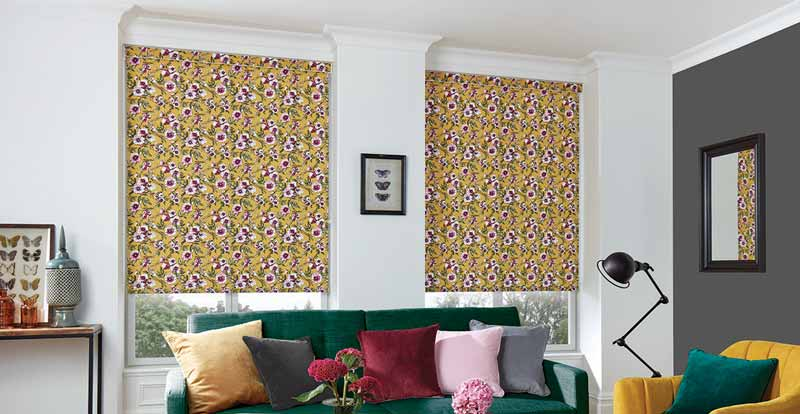 multicoloured roller blinds in living room