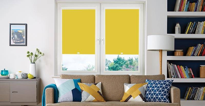 yellow perfect fit blinds in living room