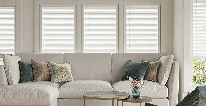 A white perfect fit wooden blind