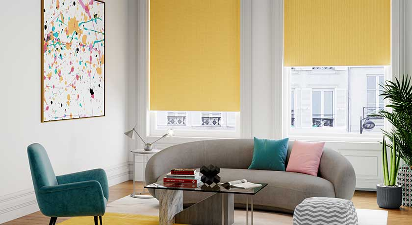 yellow roller blind in living room