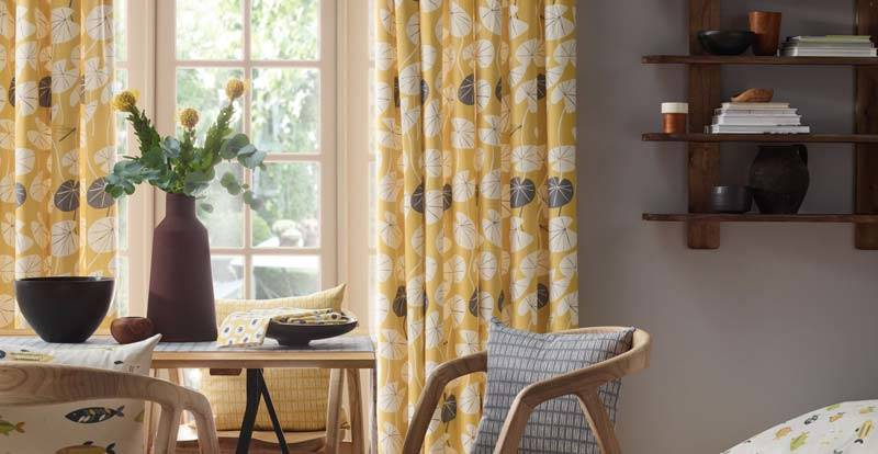 yellow curtain in kitchen