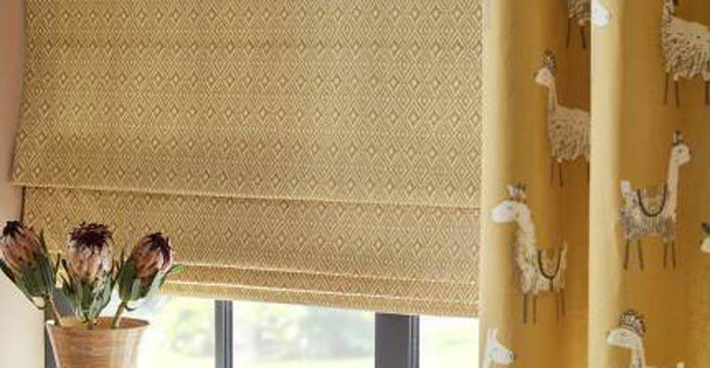 yellow roman blind in living room