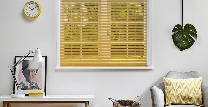 yellow venetian blind in living room
