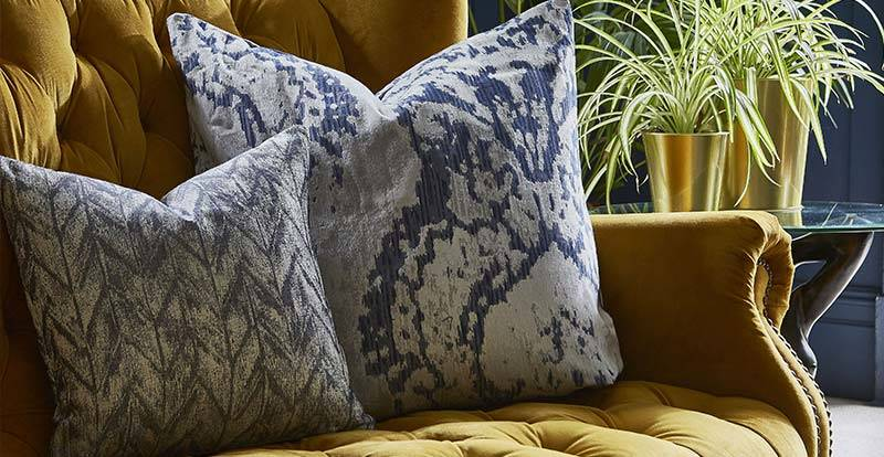 Close up of a patterned blue cushions