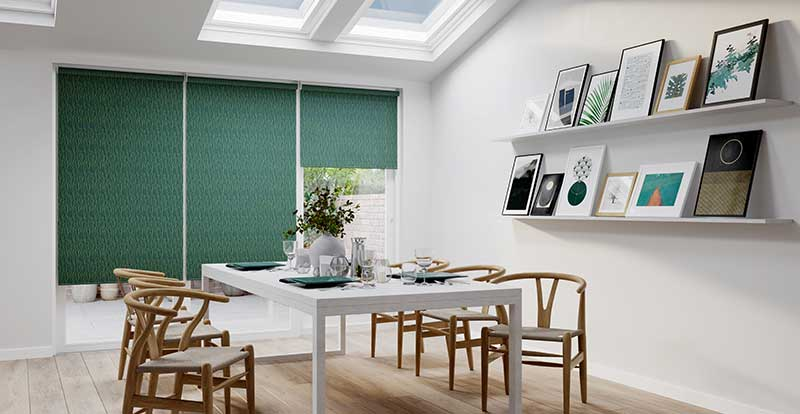 Big dining room with green roller