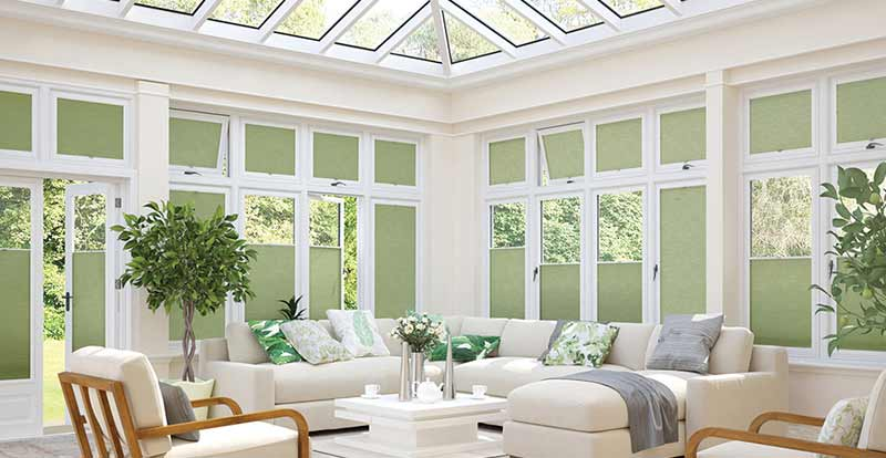 Green Pleated Perfect Fit Blinds