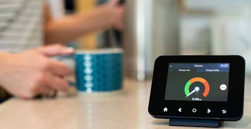 Close up of a smart meter in a kitchen