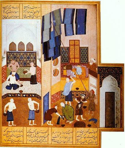 Kamal al-Din Behzad, The Caliph Harun al Rashid visits the Turkish Bath, from copy of 12th century Khamsa of Nizami, Herat, Afghanistan 1494 Working in the Timurid court of Husayun