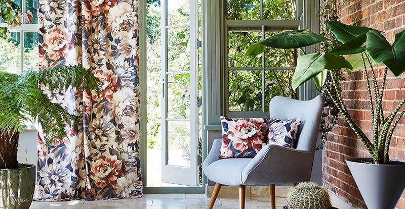 Floral Purple curtain in a conservatory