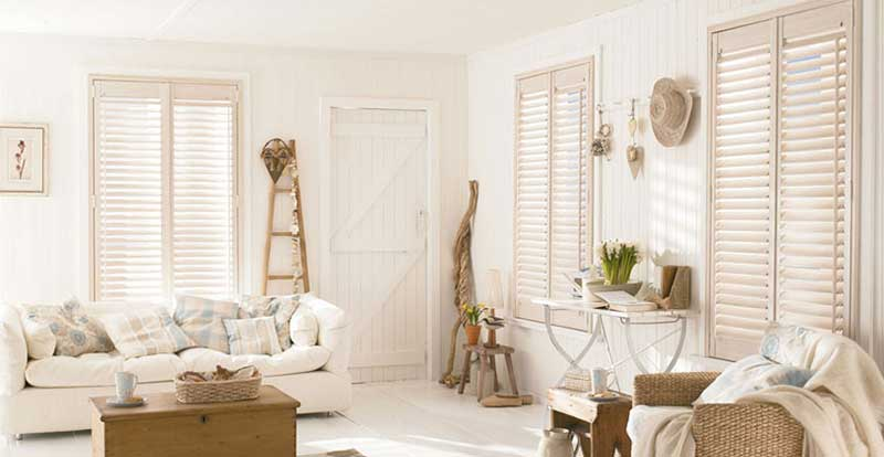 Cream Shutters in a living room.