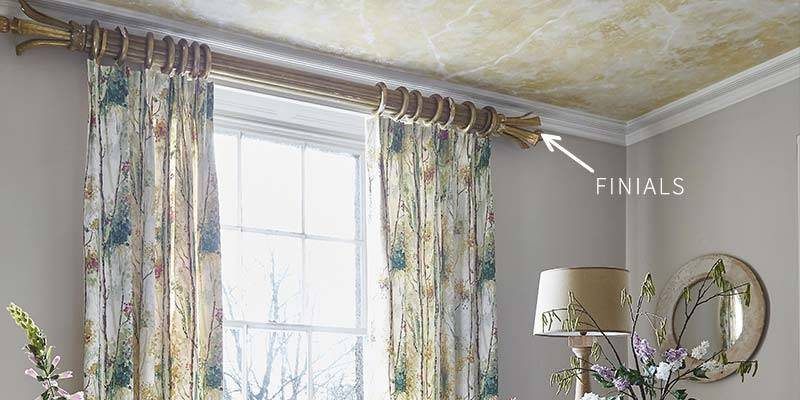 Silver birch curtain showing what finials are