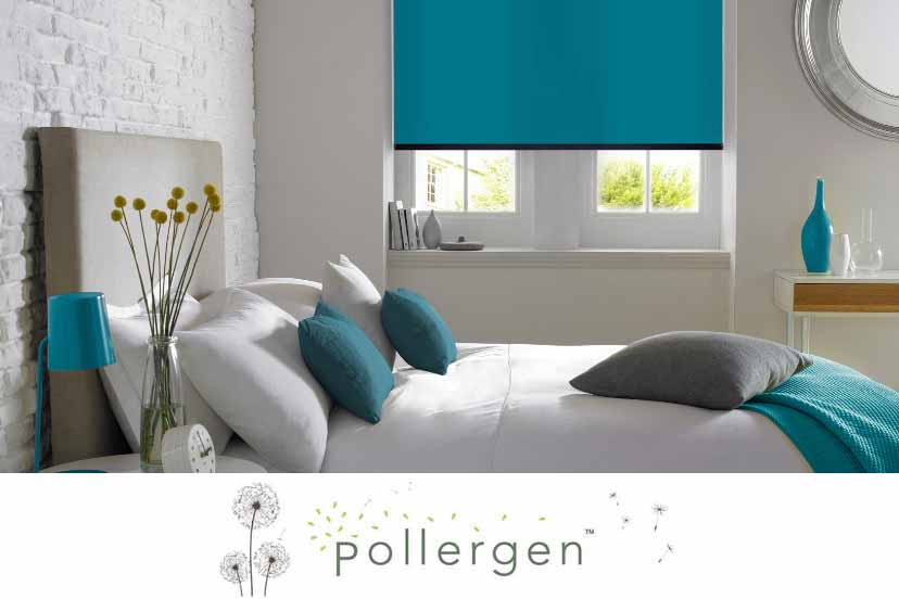 Blue Roller Blind in a bedroom