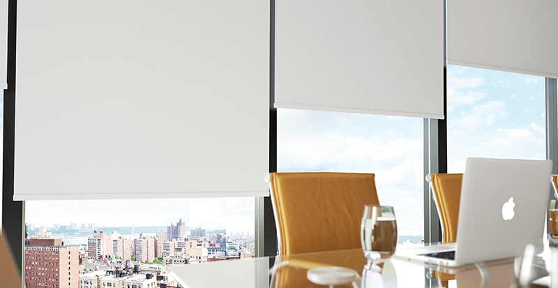 Solar-coated white roller blinds in an office.