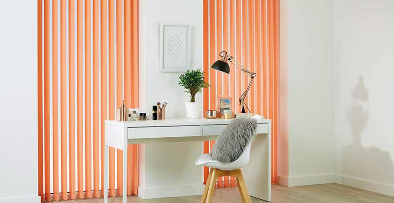 Solar-coated orange vertical blinds