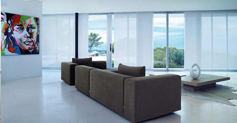 White voile panel blinds in a living room