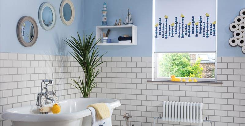 Quackers PVC roller blind in a bathroom