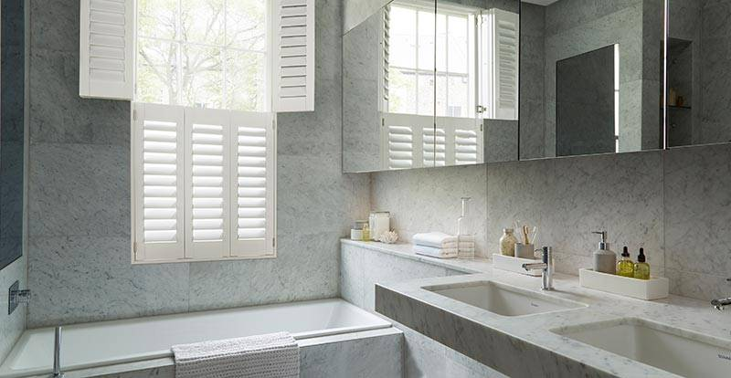 Off White Shutters in a Bathroom