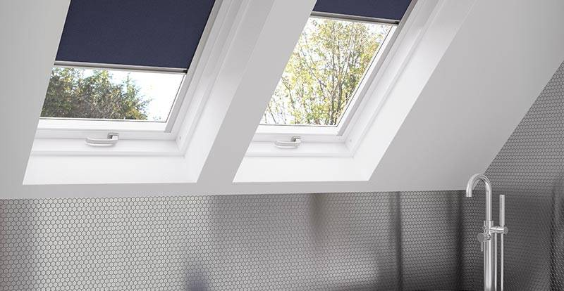 Blue Skylight Roller Blind in a bathroom