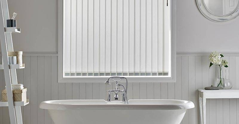 White Vertical Blind in a Bathroom