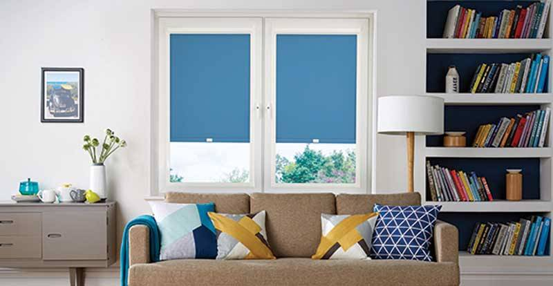 Blue perfect fit roller blind