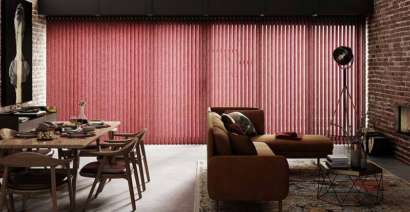 Red Vertical Blinds on a large Conservatory Window