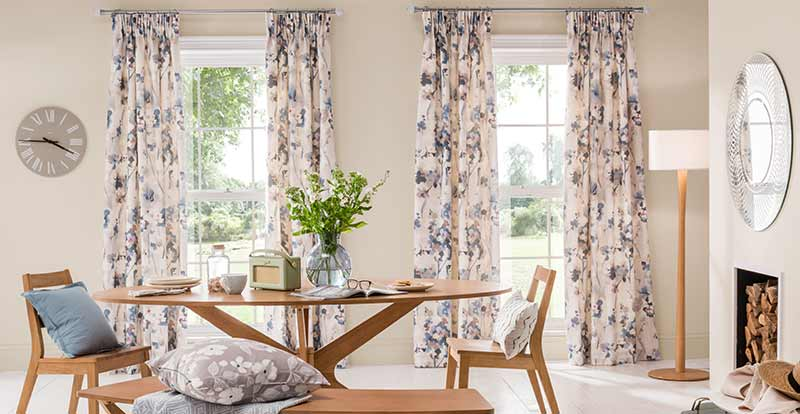 Floral curtains in a dining room