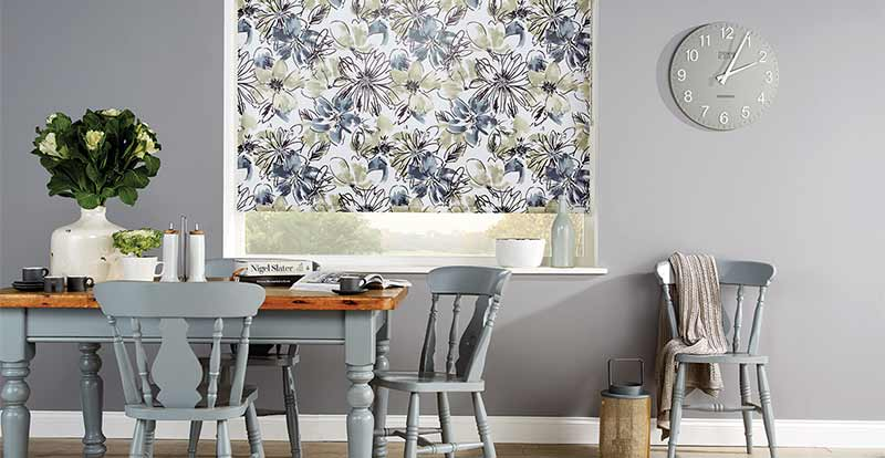 Bloom Amelie PVc roller Blind in a dining room