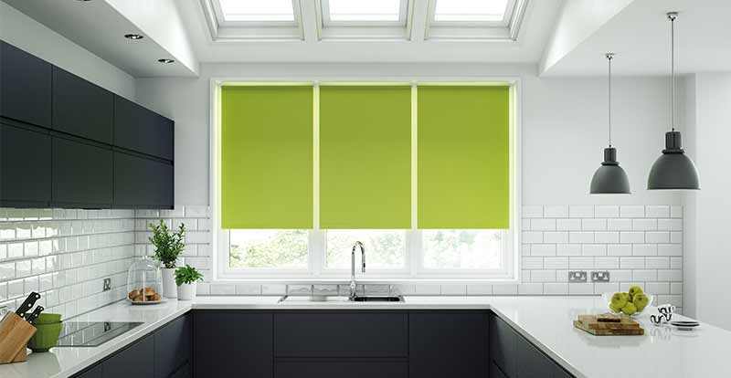 Green Roller blinds in a kitchen