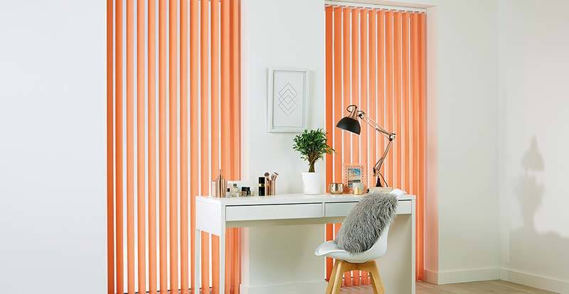 Orange Vertical Blinds in an office